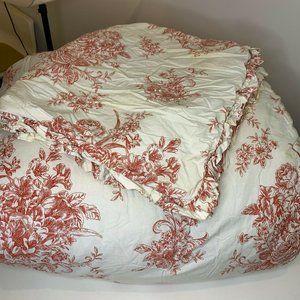 Toile King Comforter Bedspread Red Rose Print King